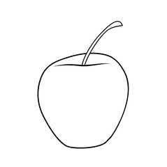 Vector illustration, isolated asymmetric cartoon apple in black and white colors