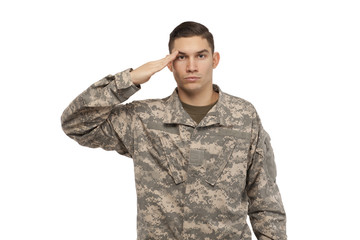 Portrait of soldier saluting