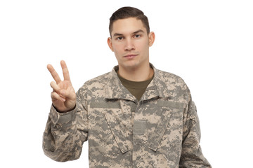 Soldier with peace sign