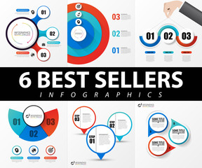 Collection of 6 popular infographics with 3 steps. Vector