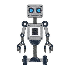Robot technology cartoon vector illustration graphic design