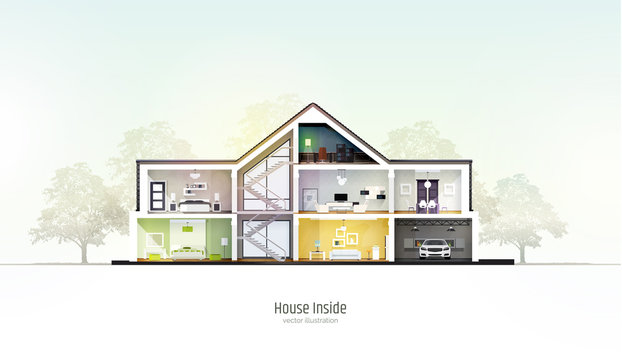 House in cut. Three storey cottage inside with rooms, garage and modern interior with furniture. Modern house with realistic trees. Architectural visualization. Realistic vector illustration.