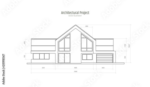 Architectural Drawing Of A Three Storey Cottage With