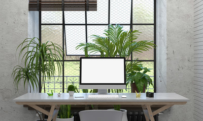 Computer display for mockup on table and plant in cement room, 3D rendering