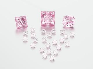 3D illustration group of pink diamonds stones