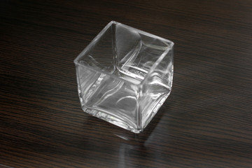 Glass on a wooden background