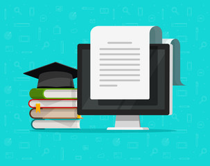 Books near computer vector illustration, flat cartoon study concept and text document on pc screen reading internet learning or education, online electronic courses