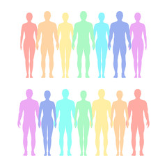 Rainbow of silhouettes of men and women. Vector flat illustration.
