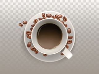 Vector 3d realistic cup of coffee on the saucer with beans isolated on translucent background. Top view of arabica drink, espresso, cappuccino, latte. Mock up, template for ad poster, banner