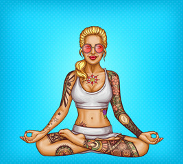 Vector pop art smiling tattooed blonde girl in sun glasses doing yoga, sitting in a lotus pose or padmasana, isolated on blue dotted background. Young sexy woman with tattoo, healthy lifestyle concept
