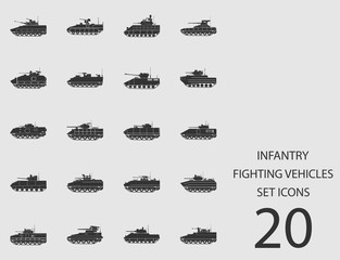 Infantry fighting vehicles set of flat icons. Vector illustration