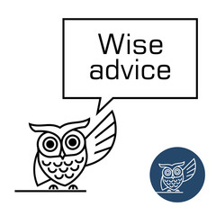 Owl with speech bubble line style illustration.