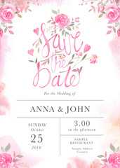 Wedding invitation card template with watercolor rose flowers.