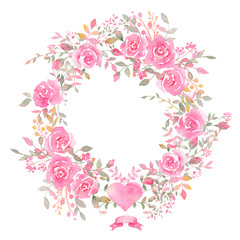 Handpainted watercolor wreath with rose flowers.