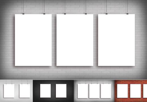 Hanging Posters Mockup Set