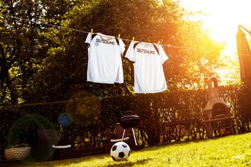 Fussball Wm Konzept (fussball trikot auf wäscheleine)