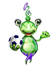 aliens with a soccer ball