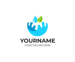 Splash of water, a leaf and a drop, logo template. Ecologically pure, natural water and watering of plants, vector design. Droplet clean aqua, nature and organic farm, illustration
