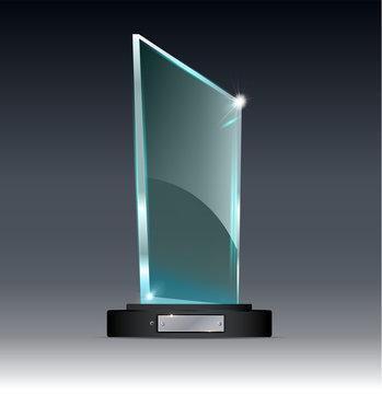 award Glass Trophy. Vector illustration of on a transparent background.