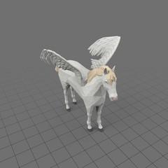 Stylized pegasus standing