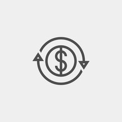 Currency conversion flat vector icon. Dollar conversion flat vector icon