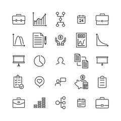 Set of business thin line icons