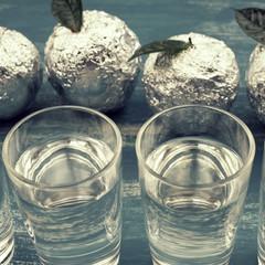 Five Glasses Blue Drink surrealism Apple Foil Blue Shabby background.