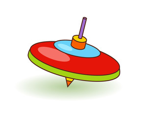 Humming-top children toy. Bright top toy over white vector illustration