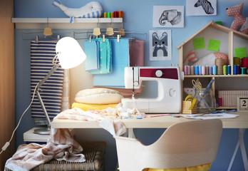 Modern seamstress workshop interior