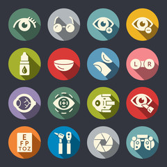 Ophthalmology and eye care icon set
