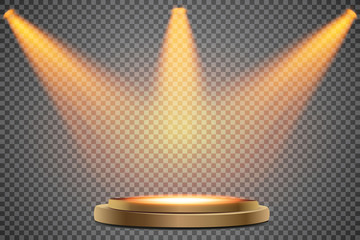 Wall Mural - Round podium, first place. Pedestal or platform illuminated by spotlights on white background. Stage with scenic lights. Vector illustration.