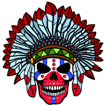 Stunning crown of feathers on a skull, repeating the Indian. Graphic illustration technique. Red, blue, brown