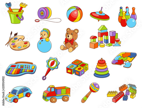 toy icon collection vector color illustration kids toys fotolia