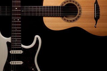 Guitars. Electric and acoustic guitar wide corner border image.