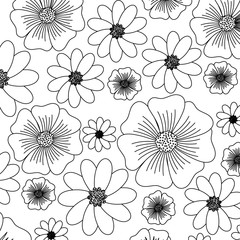 floral background, black and white design. vector illustration