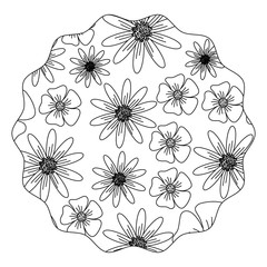 circular frame with floral design over white background, black and white design. vector illustration
