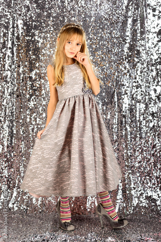 d6bfeb8f029b Little girl in fashionable dress, prom. Fashion and beauty, little princess.  Child