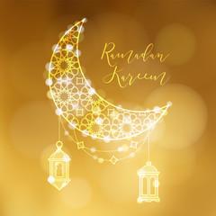 Golden ornamental moon with arab lanterns and bokeh lights. Festive decoration, vector illustration background. Greeting card, invitation for muslim community holy month Ramadan Kareem.
