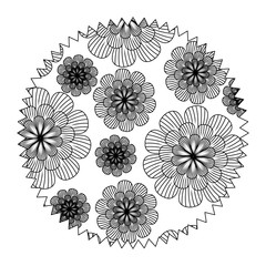 circular frame with floral background, black and white design. vector illustration