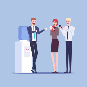 Young male and female office workers having informal conversation next to the watercooler, colleagues communicate with each other during a break vector flat illustration. Office cooler chat.