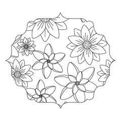 arabic frame with floral design over white background, black and white design. vector illustration
