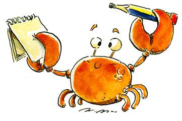 cangrejo con libreta y lapiz