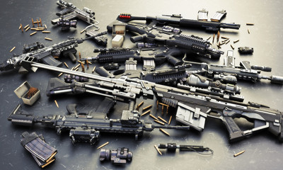 Weapons stash with automatic assault rifles and accessories,shotgun and sniper rifle. Consisting of bullet rounds, magazines , front and rear sites , and a laser guided rifle scope. 3d rendering