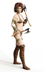 Portrait of a barbarian female with red hair and duel axes posing on a white background. 3d rendering