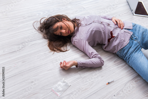 """Dead woman on the floor after commiting suicide"" Stock ..."