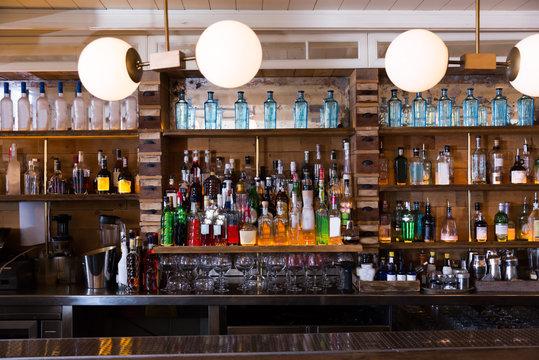 Image of big bar in night restaurant