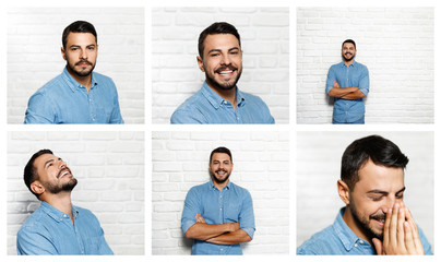 Facial Expressions Of Young Beard Man On Brick Wall