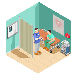 Inspection At Doctor Isometric Composition