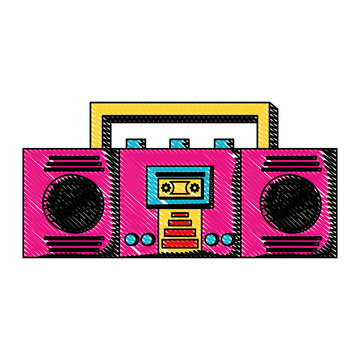 boombox stereo icon over white background, colorful design. vector illustration