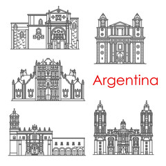 Argentina landmarks architecture vector line icons